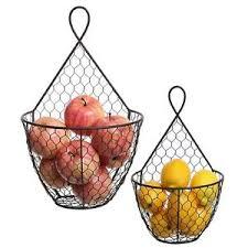 metal fruit basket fruit basket holder rack wire metal hanging wall mount display