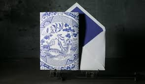 chinoiserie style letterpress wedding invitations