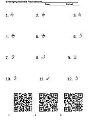 simplifying radicals and fractional exponents worksheet with qr