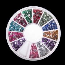 amazon com 3d 2300pcs round nail art rhinestone gems wheel with
