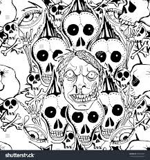 skulls zombie vector seamless pattern crazy stock vector 678912667