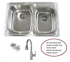 kitchen sink faucet combo 33 inch stainless steel top mount drop in 60 40 bowl