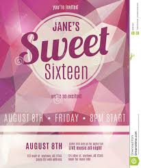invitation flyer for sweet sixteen party stock vector image