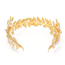 metal headband golden leaves headband metal faux pearl wedding headpiece