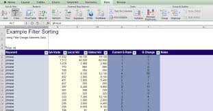creating a ms excel column header row for sorting my spot