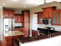 Red Mahogany Kitchen Cabinets Kitchen Small Kitchen Design With Red Brown L Shaped Kitchen