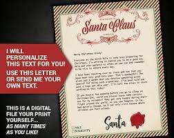 personalized letter from santa custom santa letter etsy