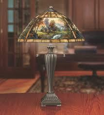 thomas kinkade mountain retreat stained glass table lamp the