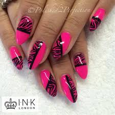neon pink zebra stripe nails ink london empower nail art