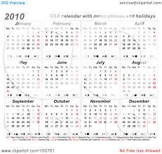 royalty free rf clipart illustration of a 2010 usa calendar