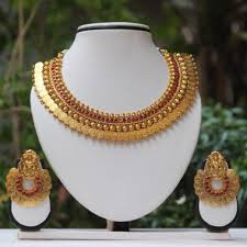 stone setting gold necklace images Shop for maroon stone laxmi temple coin gold necklace set 504375 jpg