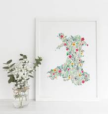Map Of Wales Floral Map Of Wales Print By Eleri Haf Designs