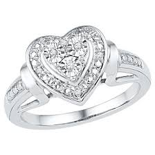 heart ring 1 20 ct t w diamond miracle set heart ring in sterling