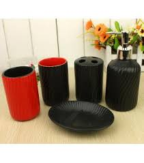 Red Bathroom Accessories Sets by Classical Black With Red Wavy Grain Bath Accessory Set Xf 2018