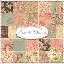 roses chocolate by sentimental studios for moda fabrics