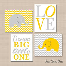 Yellow Gray Nursery Decor Elephant Nursery Décor Elephant Nursery Wall