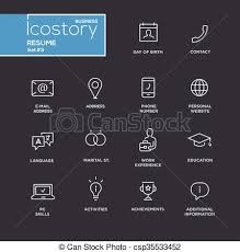 Resume Icons Free Clipart Vector Of Modern Resume Simple Thin Line Design Icons