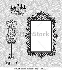 Chandelier Frame Vector Illustration Of Frame Mannequin And Chandelier Antique