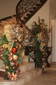 Christmas Banister Garland Ideas Foxy Image Of Christmas Staircase Decoration Using Gold Baubles