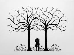 wedding tree pictures for guests fingerprints and wishes
