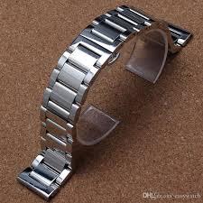 solid stainless steel bracelet images Silver bracelet solid stainless steel watch band adjustable strap jpg