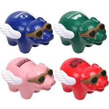 promotional flying pig stress balls with custom logo for 1 63 ea