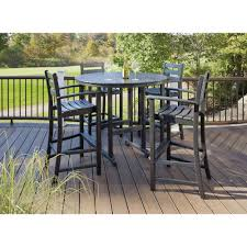 Patio Furniture Bar Height Set - trex outdoor furniture monterey bay charcoal black 5 piece patio