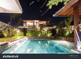 modern house including swimming pool middle stock photo 441036025
