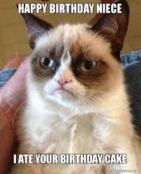 Niece Meme - happy birthday niece i ate your birthday cake grumpy cat make a meme