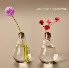 Creative Flower Vases Light Bulb Transparent Glass Vase Modern Fashion Hydroponic Flower