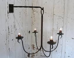 Electric Candle Sconce Rustic Sconce Wall Candle Sconce Blackened Candle Holder
