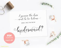 bridesmaid invitations template inspirational will you be my bridesmaid template best templates