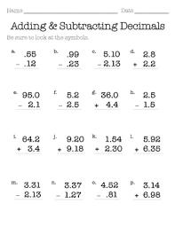 adding and subtracting decimals worksheets 4th grade worksheets