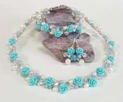 turquoise bridal earrings blue bridal jewelry crochet set necklace bracelet earrings roses