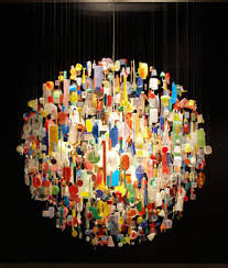 chandelier made from trash found out of the chandeliers