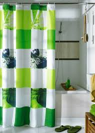 Bright Green Shower Curtain Green Shower Curtains With Leopard Picture Animal Theme Bathroom