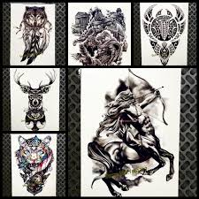 western mythology style temporary tattoo for men women 21x15cm