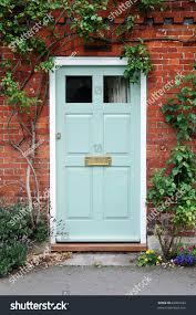 front door beautiful red brick house stock photo 63069292