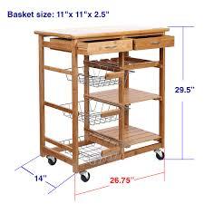 rolling bamboo kitchen cart island trolley cabinet w wine rack