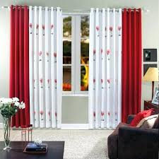 black red grey striped curtains and white living room blinds