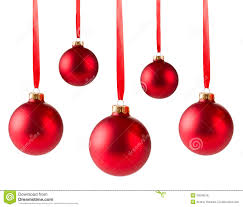 five red christmas balls hanging royalty free stock photos image