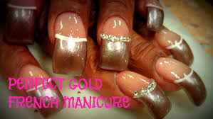 how to perfect french manicure gold tips youtube