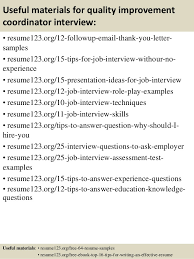 Quality Resume Samples by Top 8 Quality Improvement Coordinator Resume Samples