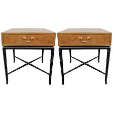 pair of incised kittinger side tables or nightstands with faux