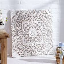 enjoyable white wood wall decor balinese carved panel hanging