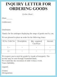examples of inquiry letters for business inquiry letter for ordering goods sample letter of ordering