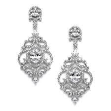 Cubic Zirconia Chandelier Earrings Scrolls Silver Platinum Plated Cubic Zirconia Wedding
