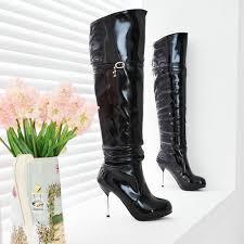 s heel boots size 11 black patent leather platform the knee zip high heel