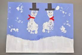 snowy day crafts toddler craft painted snowmen feet snowman