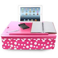 icozy portable cushion lap desk with storage pink polka dot